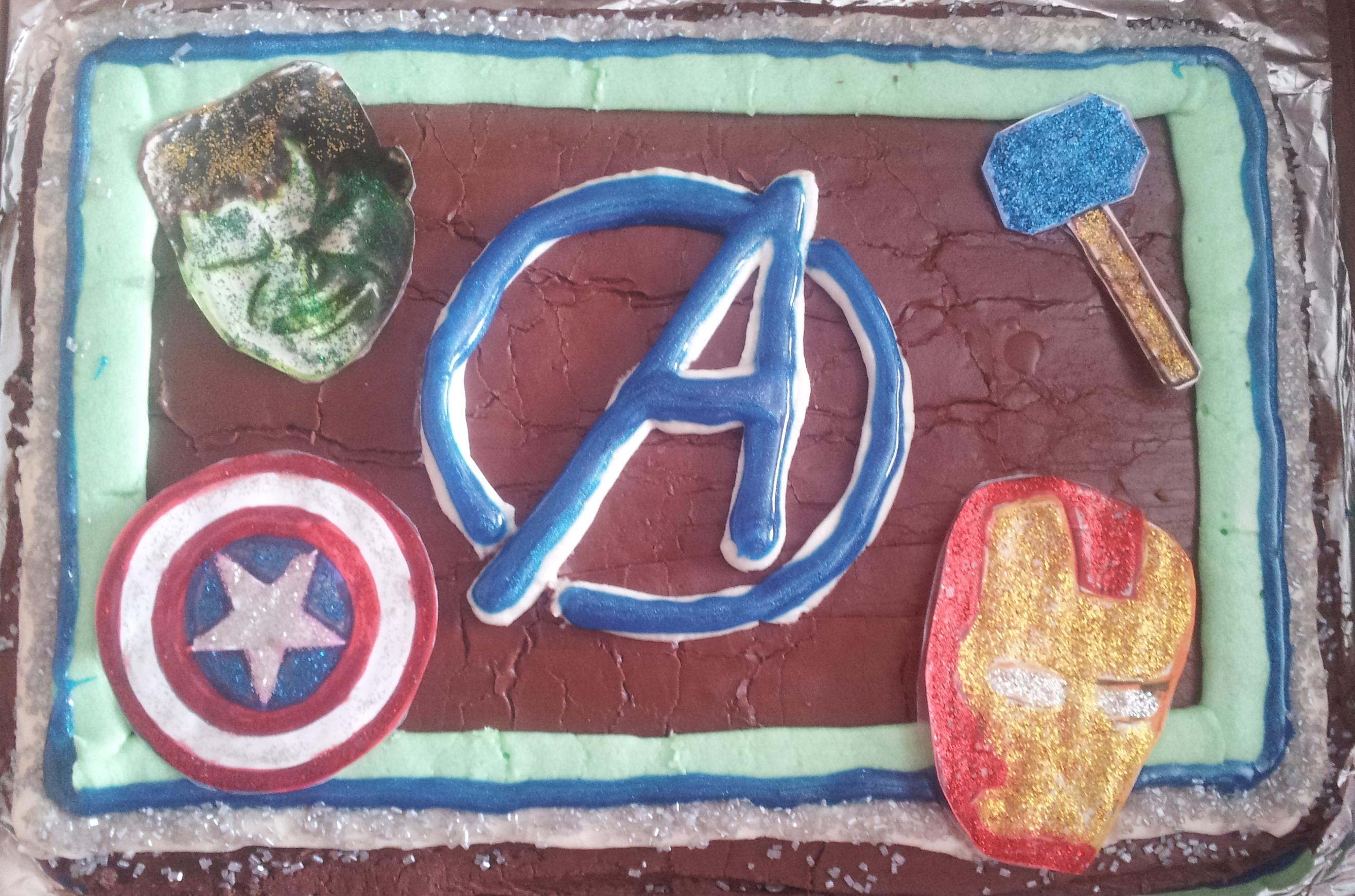 Easy Avengers Birthday Cake with Carvel Crunchie Center Burnt Apple