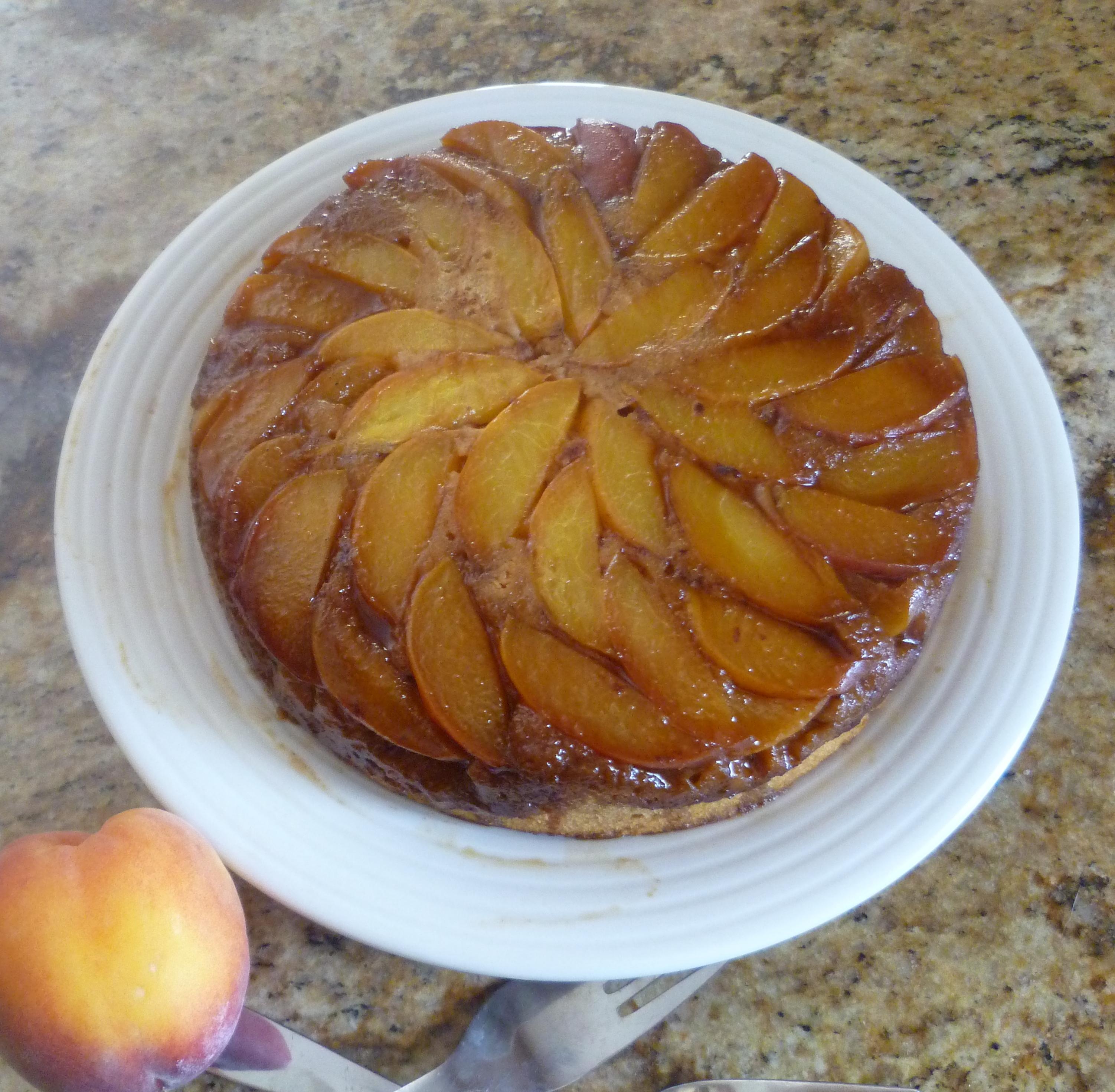 Whole Grain Peach Upside Down Cake | Burnt Apple