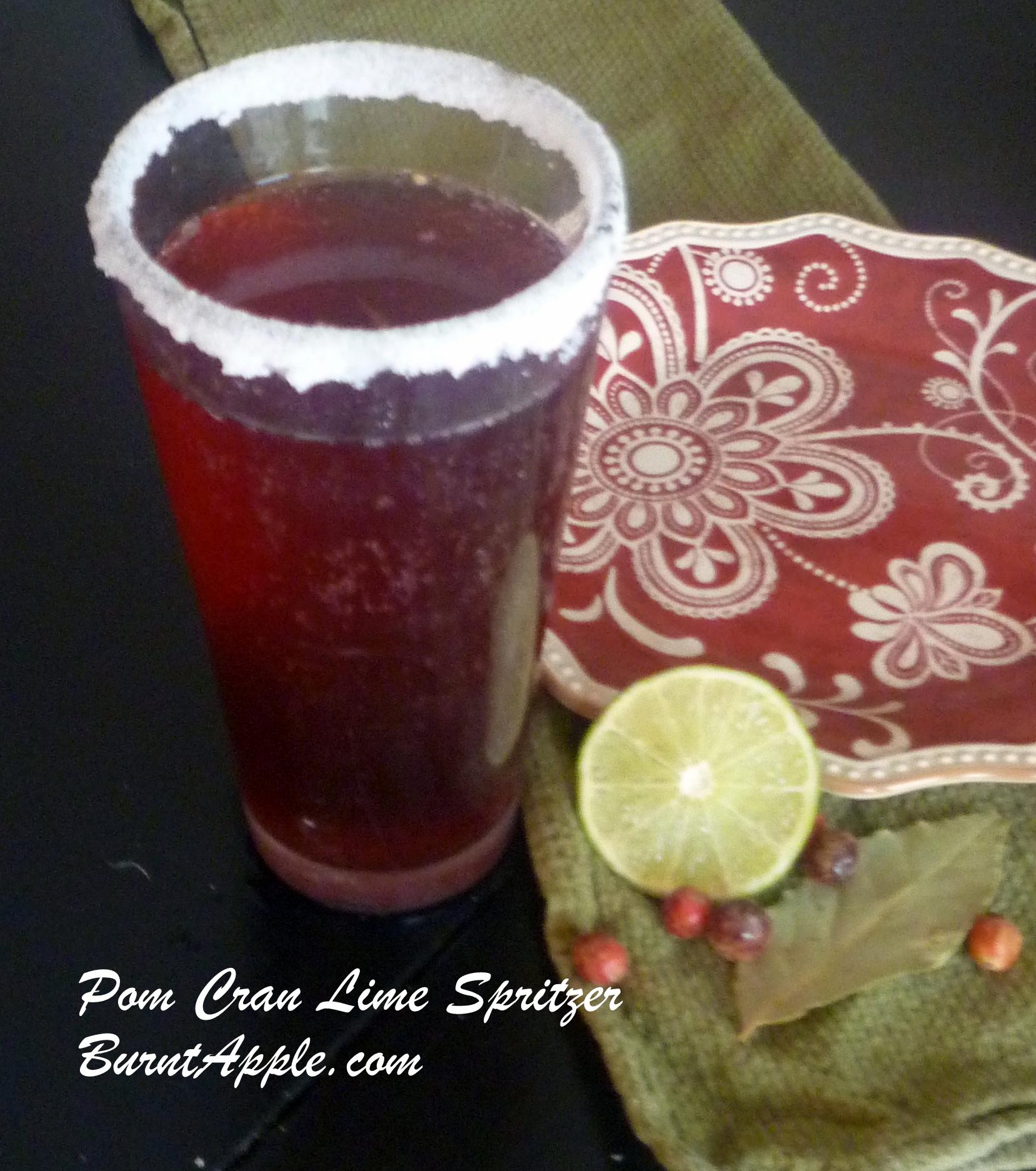 pomegranate cranberry lime spritzer