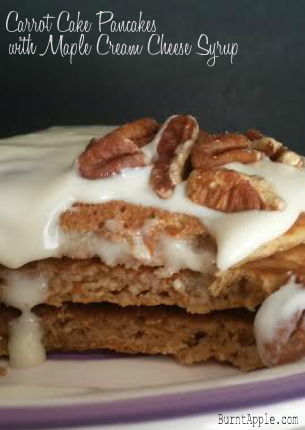 carrot cake pancakes with maple cream cheese syrup