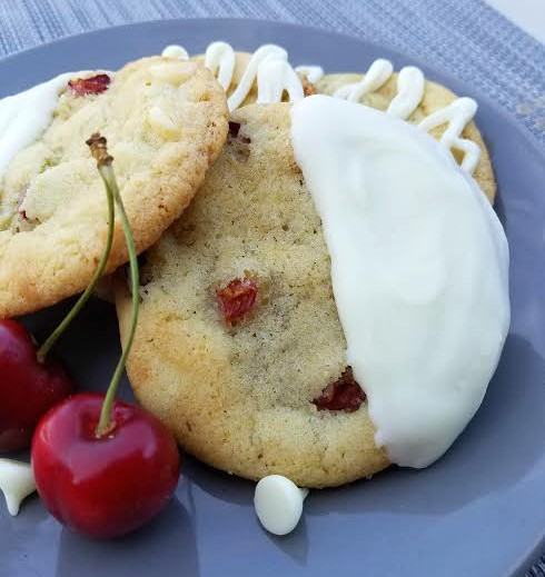 white chocolate cherry lime cookie