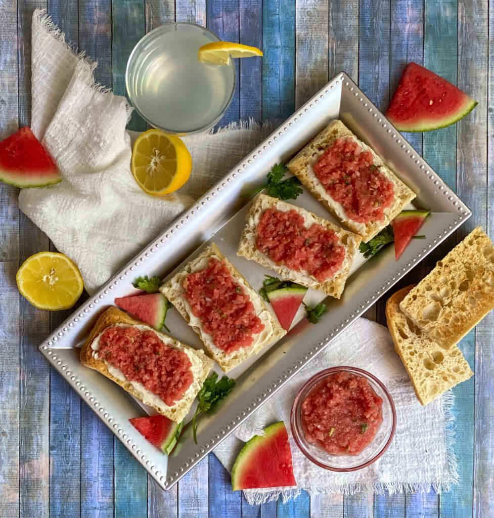 summer bruschetta watermelon jicama brie bruschetta