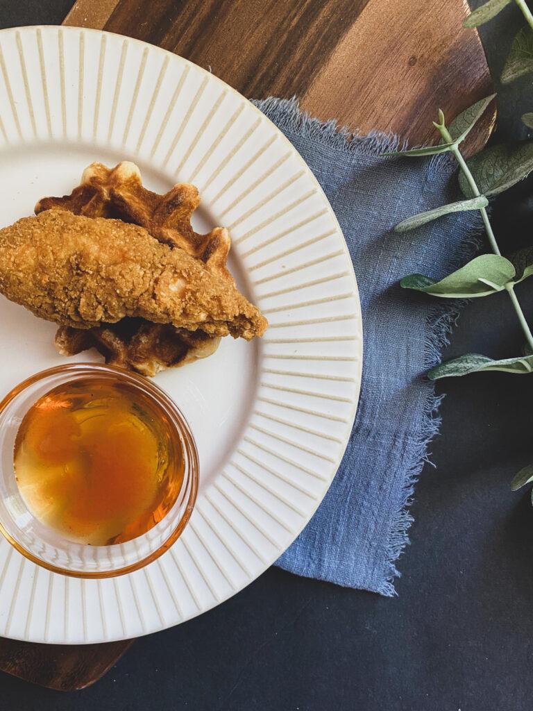 gluten free chicken and waffles belgian liege honey sauce