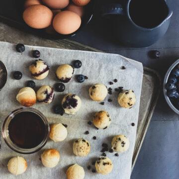 gluten free pancake bite blueberry chocolate plain maple