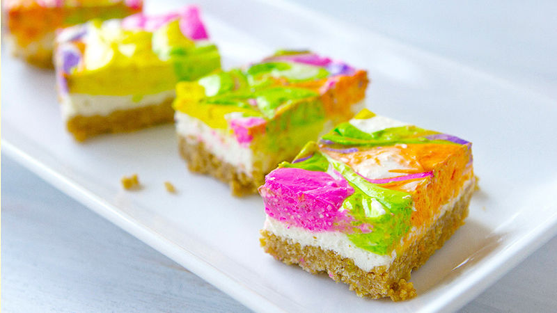 neon party food cheesecake no bake easy