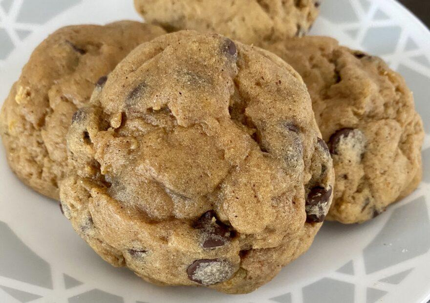prettiest bakery style pumpkin chocolate chip cookies