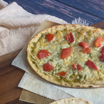 five minute gluten free pita pesto pasta