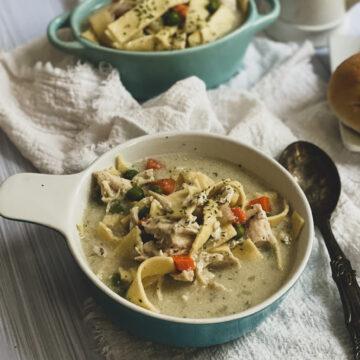 five ingredient gluten free chicken noodle soup